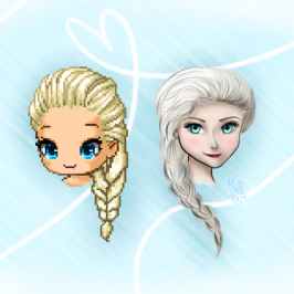 Edited Fantagian Elsa and hand-drawn Elsa!
